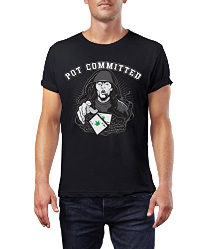 Pot Committed Men's 100% Cotton Short-Sleeve Poker T-Shirt (Small, Black)