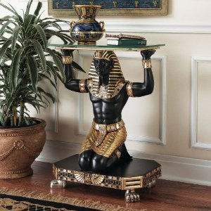Ancient Egyptian King Tut Messenger Glass Console Hallway Foyer (Ancient Egyptian Furniture)