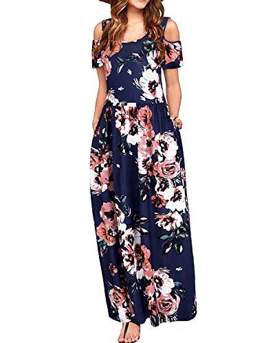 STYLEWORD Women's Summer Cold Shoulder Floral Print Elegant Maxi Long Dress with Pocket(Floral01-457,L)]()