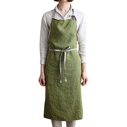 BAVER premium fashion handmade Japanese style linen Apron with packets for kitchen coffee shop waiter studio (Green) by BAVER