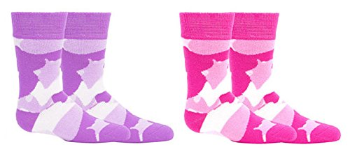 2 Pack Best Pink Purple Camo Sock Synthetic Big Girl Heavy Duty Snowboard Ski Boot Ankle Thermal Crew Heat Holding Trendy Top Fun Summer for Little Teen Girl Girlfriend ()