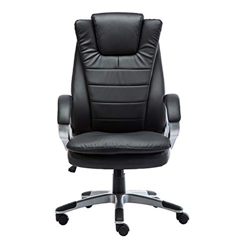 GreenForest Executive Office Chair PU Leather Ergonomic Computer Chair High Back Home Office Swivel Desk Chairs with Headrest and Lumber Support, Black