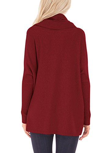Dokotoo Womens Pullover Regular Elgant Casual Loose Amazon Long Sleeve Cowl Neck Chunky Knit Pullover Sweaters Blouse Tops Wine Large by Dokotoo (Image #2)