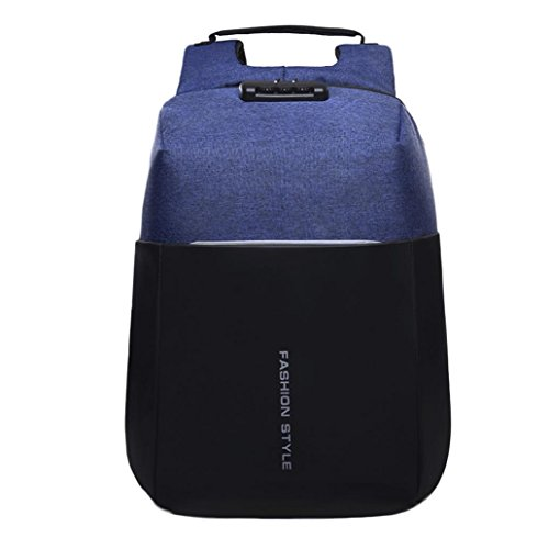 Multi-functional Backpack Password Lock High-capacity Laptop Bag with USB (Blue) by Napoo-Bag