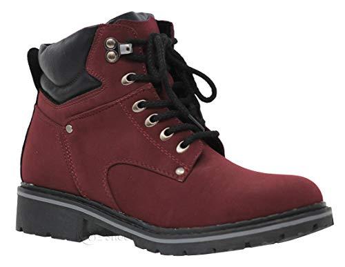 MVE Shoes Women's Waterproof Hiking Boots - Outdoor Lightweight Hiker, Broadway-5 Burgundy 5.5