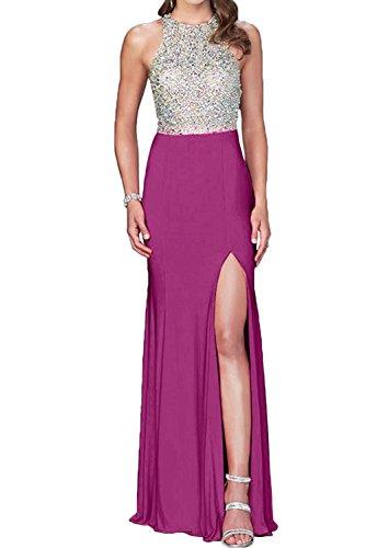 La novia de perlas de cristal de la Toscana para mujer dos-Traeger gasa por la noche vestidos de fiesta vestidos de bola Prom duro de largo fucsia