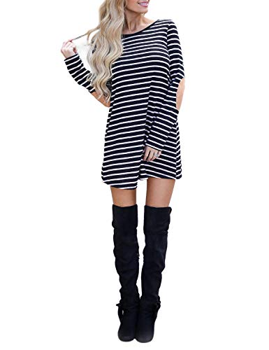 7ee045e64b0 Blooming Jelly Women s Striped Dress Long Sleeve Elbow Patches Swing Mini  Dress