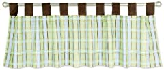 """Add the finishing touch to your nursery with this Baby Barnyard Tab Top Window Valance by Trend Lab. Cotton percale valance features a stylish plaid print in sage, brown, and sweet blue, with splashes of burnt orange. Measures 53"""" x 13"""" and f..."""
