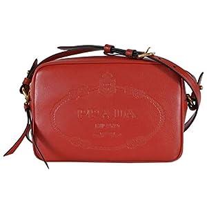 Prada Embossed Logo Red Glace Calf Leather Crossbody Camera Bag 1BH089