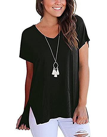 3a9bb4193 Women T Shirts - T Shirts Womens Solid Loose Short Sleeve V Neck Cold  Shoulder Summer