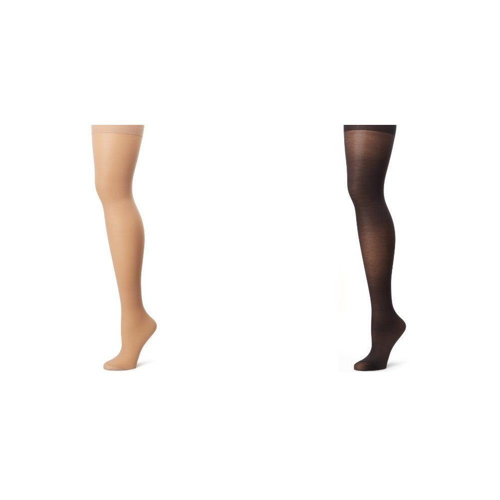 Hanes Women's Alive Full Support Control Top Pantyhose, Nude/Jet, F