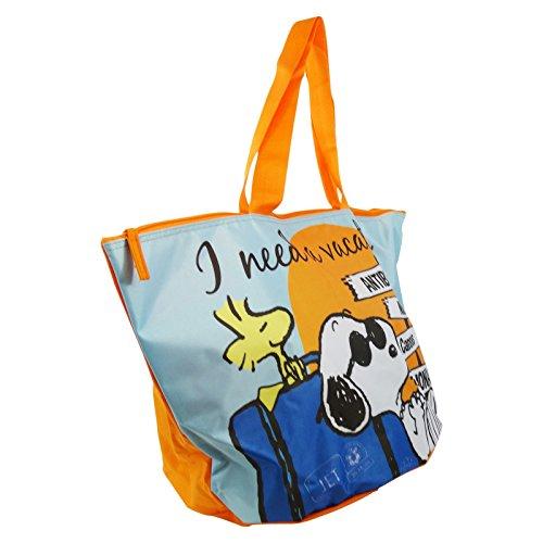Peanuts Snoopy Time to Go Borsa da Mare a Secchiello Fondo Tondo a Mano Shopping Pic Nic