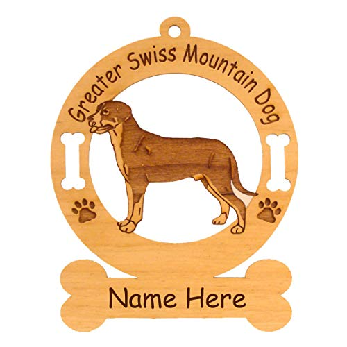 3312 Greater Swiss Mountain Dog Standing#3 Ornament Personalized with Your Dog's - Mountain Ornament Dog Swiss