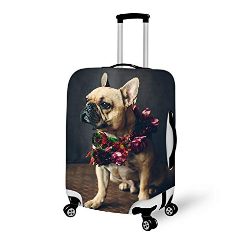 Travel Suitcase Cover, Stretchy Zipper Luggage Suitcase Protector, Washable Dustproof Baggage Case bag - Fits 18-28 Inch Luggage (Romantic French Bulldog Gentleman) ()