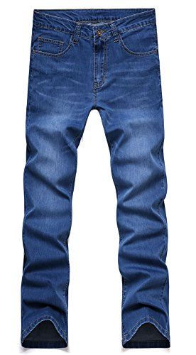 Plaid&Plain Men's Slim Tapered Jeans Stretch Skinny Jeans Lightweight Jeans LightBlue 30 by Plaid&Plain (Image #1)