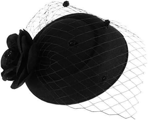 9c47b73fb35 GEMVIE Mujer Tocado Pelo Flor Clip Sombrero Boda Cóctel Novia Accesorios  para Cabello Negro