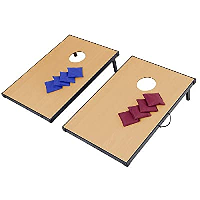 Sporting Goods Outdoor Recreation Kids Child Family Play 47 Inches Folding Wood 8 Bean Bag Blue Red Toss Cornhole Game Set Strong Base Stable Fold-Out Legs Easy Carry Feature with Velcro and Handles : Sports & Outdoors