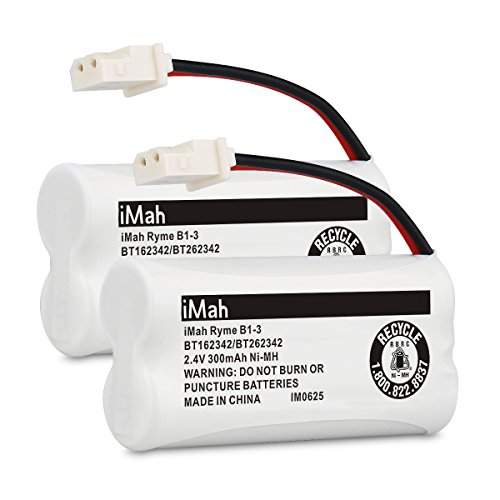 iMah BT162342/BT262342 2.4V 300mAh Ni-MH Cordless Phone Batteries Compatible with VTech CS6719 CS6409 CS6419 CS6429 CS80100 AT&T CL81101 EL5210 EL52400 Handset Telephone, Pack of 2 (Phone Vtech Battery Cordless)