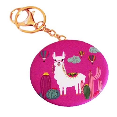 Llama Compact Mirror Keychain Double Sided Magnification Portable Folding Cosmetic Pocket Mirror with Lobster Claw Hook Key Ring