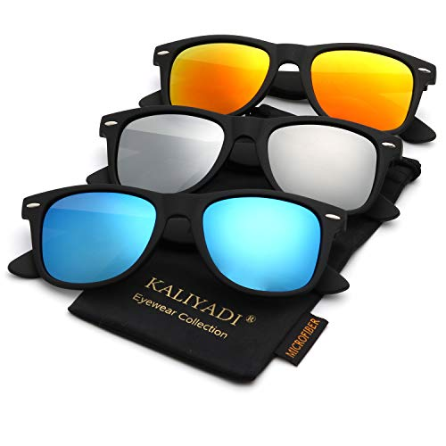 Polarized Sunglasses for Men and Women | Matte Finish Sun glasses | Color Mirror Lens | 100% UV ()