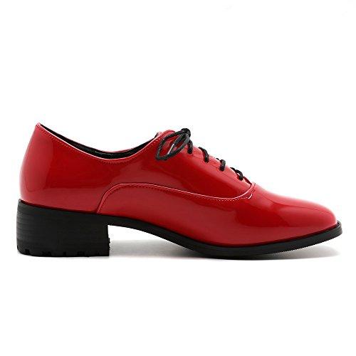 talons À Des Chaussures Bout Lacets Carré Femmes À 39 De Pompes Bas Odomolor Solides Microfibre Rouge xwStqIUP