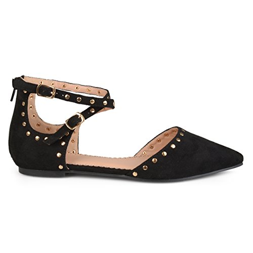 Brinley Co Womens Double Ankle Strap Faux Suede Studded Flats Black, 8.5 Regular US -