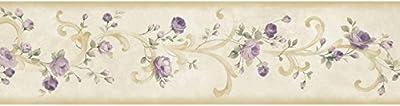 Chesapeake MEA77915B Scotney Purple Tearose Acanthus Wallpaper Border