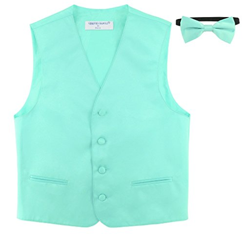 BOY'S Dress Vest & BOW TIE Solid AQUA GREEN Color Bow Tie Set size 4