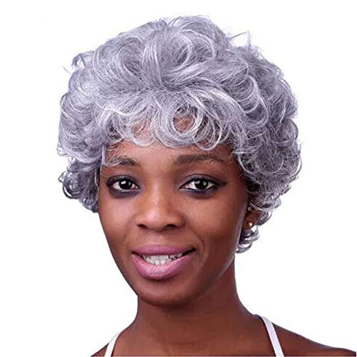BlueSpace Synthetic Wigs Old Lady Short Curly Wave Wig Heat Resistant Anime Cosplay Halloween Costume Wig for Women, Silver Gray -