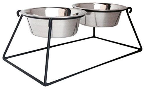 Pyramid Double Bowl Elevated Diner - 18'' - Raised Feeder by NMN Products
