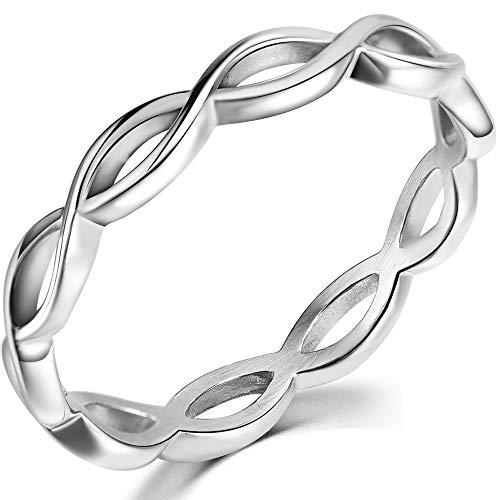 Jude Jewelers Stainless Steel Braided Knotted Waved Stackable Wedding Band Promise Statement Ring (Silver, 7)