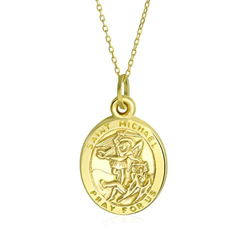 14K Yellow Real Gold Saint Michael For Protection Religious Metal Pendant For Men For Women With 18 Inch Gold Chain
