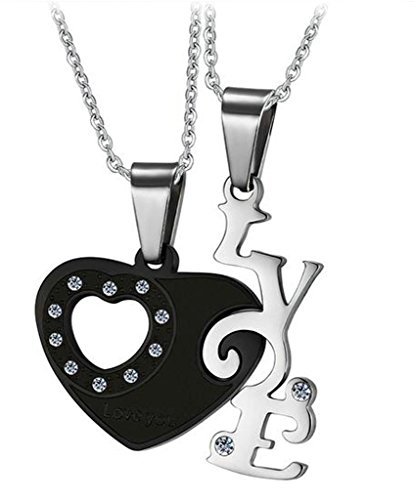Viking Costume Walmart (Gnzoe 2Pcs Men Women Necklace Stainless Steel Puzzle Heart Letters