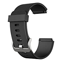 Fitbit Blaze Band - iXCC Soft Silicone Sport Strap Smart Fitness Watch Band, 6.7 Inch Adjustable, Pin and Tuck Closure, S Size - Black