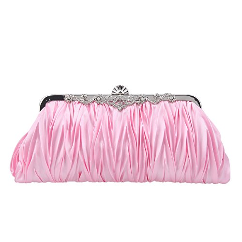 (Fawziya Satin Pleated Clutch Purses For Women Evening Clutches For Wedding And Party-Pink)