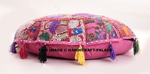 Beautiful Round Indian Patchwork Pouffe,Indian Traditional Home Decorative Handmade Cotton Ottoman Patchwork Foot Stool Floor Cushion,Embroidered Decorative Vintage Cotton 32'' By Handicraft-Palace by Handicraft-Palace