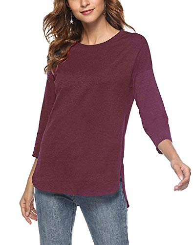 Split Neck Top - Women's Long Sleeve Round Neck High Low Loose T Shirt Basic Tee Tops with Side Split(Wine Red, X-Large)
