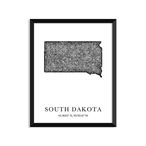 SOUTH DAKOTA Map, longitude, latitude - Unframed art print poster or greeting card