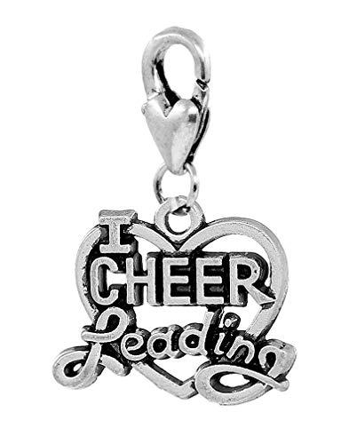 I Heart Cheerleading Cheerleader Love Cheer Clip Charm for Bracelets