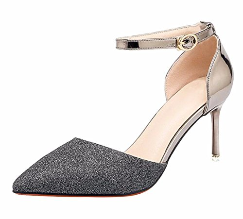 Heeled Bridal Black Shoes du High Sandals Pumps Women's Prom Jane Mary Stiletto Wedding Sequin Jiu Heel Party Ankle Strap TEwZYT