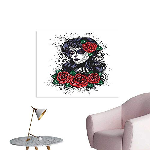 J Chief Sky Skull Wallpaper Sticker Dead Hair Sugar Skull Lady with Roses in Retro Ink Style Design Print Decor Mural for Home W48 xL32 ()