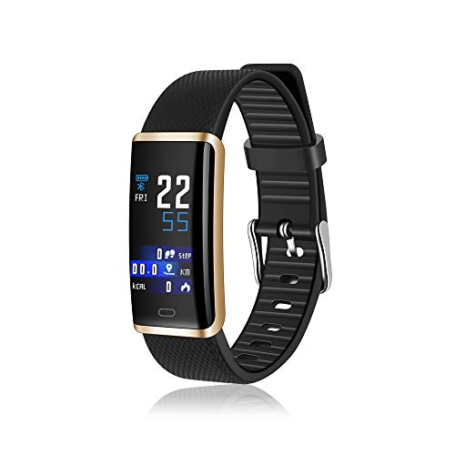 Smart Watch, Multifunctional R9 Bracelet Charge Fitness Wristband Silicone Replacement Waterproof Sports Bluetooth Bracelet (Gold Black) by AnnBay