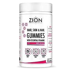 Zion Hair Vitamin Gummies - Biotin, Coconut Oil, Vitamins A, B-6, B-9, B-12, C & E - Vegan, Gluten Free, Natural Flavors - Hair Growth, Skin, and Nails Gummy Supplements - Hair Loss Products