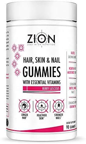 Zion Hair Vitamin Gummies - Biotin, Coconut Oil, Vitamins A, B-6, B-9, B-12, C & E - Vegan, Gluten Free, Natural Flavors - Hair Growth, Skin, and Nails Gummy Supplement (45 Servings)
