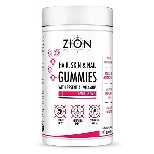 Zion Hair Vitamin Gummies – Biotin, Coconut Oil, Vitamins A, B-6, B-9, B-12, C & E – Vegan, Gluten Free, Natural Flavors – Hair Growth, Skin, and Nails Gummy Supplement (45 Servings)