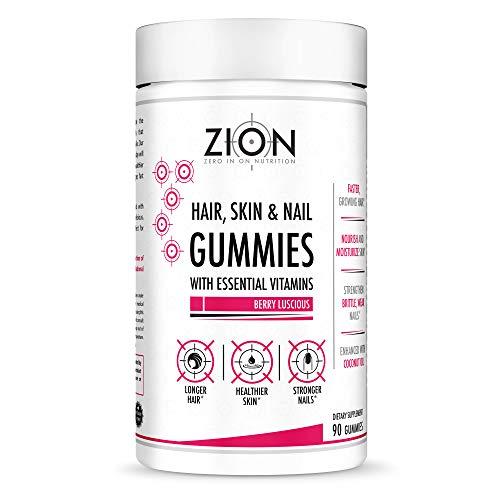Zion Hair Vitamin Gummies - Biotin, Coconut Oil, Vitamins A, B-6, B-9, B-12, C & E - Vegan, Gluten Free, Natural Flavors - Hair Growth, Skin, and Nails Gummy Supplement (45 Servings) (Recommended Intake Of Biotin For Hair Growth)