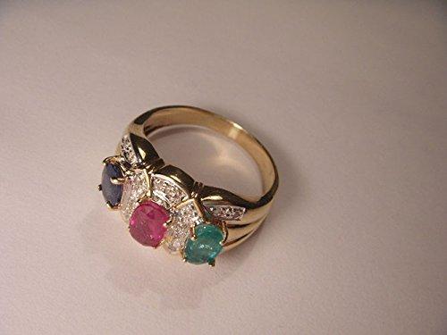 Beautiful Estate 14K Yellow Gold Diamond Ruby Sapphire Emerald Band Ring (Ring Diamond Estate Sapphire)