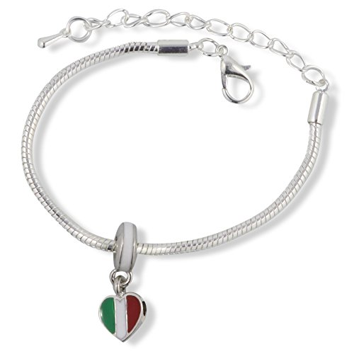 Italian Flag Heart (Italian ( Italy ) Flag on Heart Snake Chain Charm Bracelet)