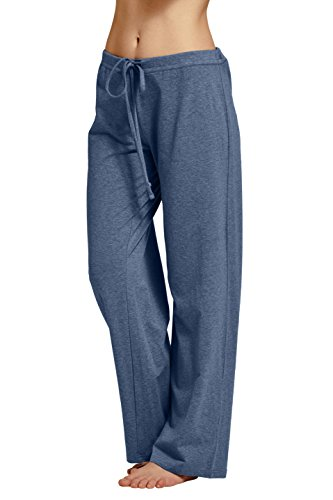 CYZ Women's Basic Stretch Cotton Knit Pajama Sleep Lounge Pa-DarkBlueMelange-XL - Cotton Knit Pjs