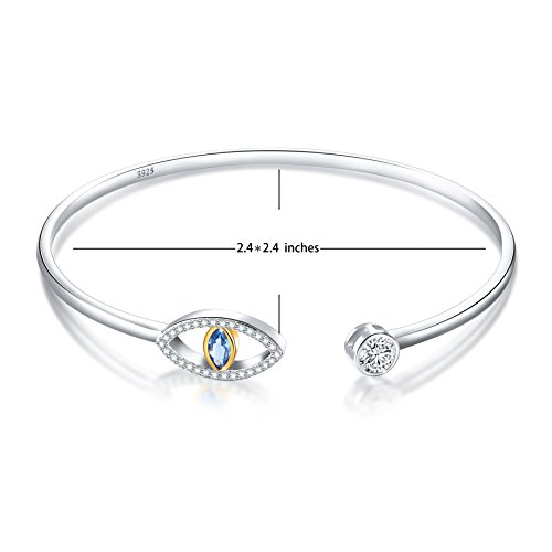 SILVER MOUNTAIN 925 Sterling Silver Pave Evil Eye Double End Cuff Bangle Bracelet for Women by SILVER MOUNTAIN (Image #5)